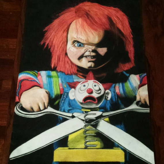 570x570 Chucky Childs Play 2 Original Drawing Prismacolor Pencils A3