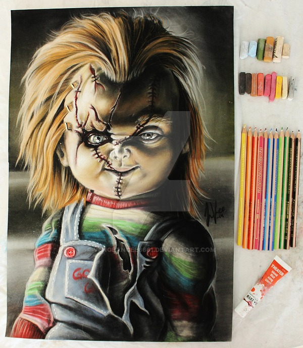 600x689 Chucky Drawing By Vengeancee6661
