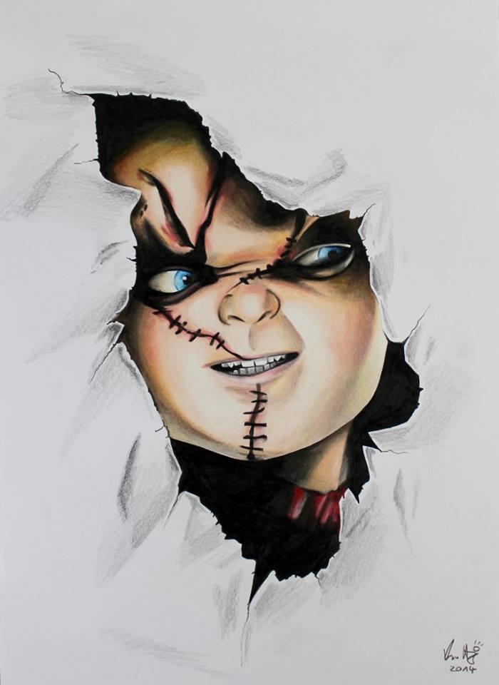 700x960 Chucky Drawing By Michi Artist