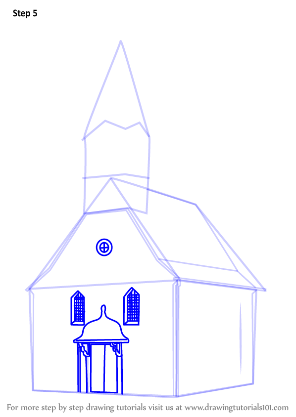 598x844 Learn How To Draw A Church Building (Christianity) Step By Step