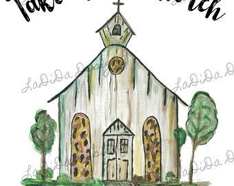340x270 Church Drawing Etsy