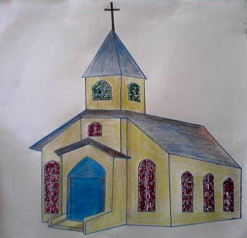 484x467 How To Draw A Church 8 Steps (With Pictures)