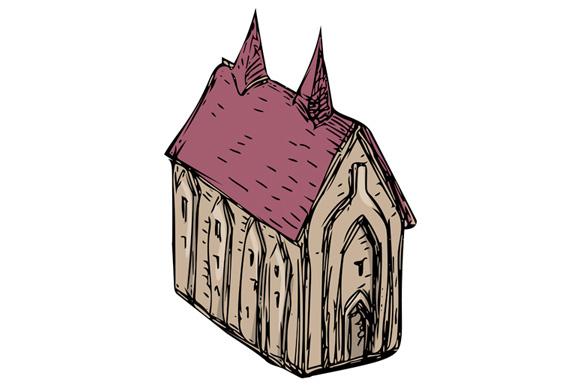 580x386 Medieval Church Drawing By Patrimonio Design Bundles
