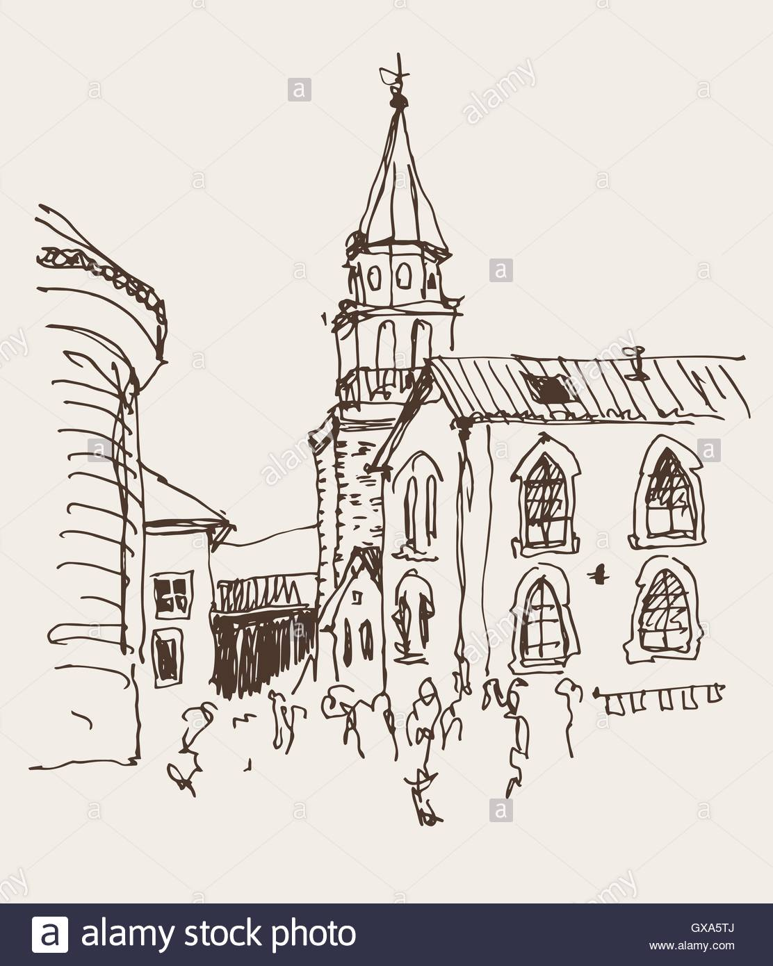 1112x1390 Sketch Drawing Of The Bell Tower Church Top View In Old Town Bud