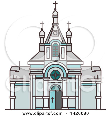 450x470 Clipart Of A Line Drawing Styled Egyptian Landmark, Saint Virgin