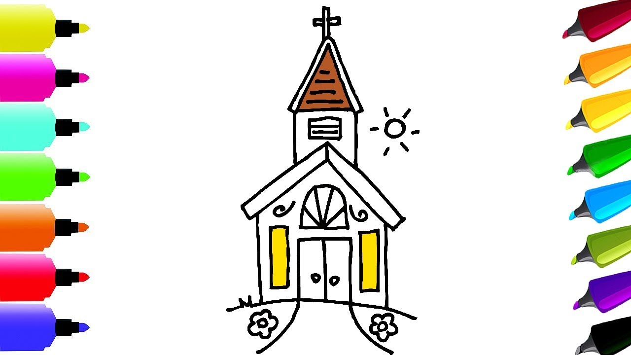 1280x720 How To Draw And Coloring Pages Cute Church Drawing And Coloring