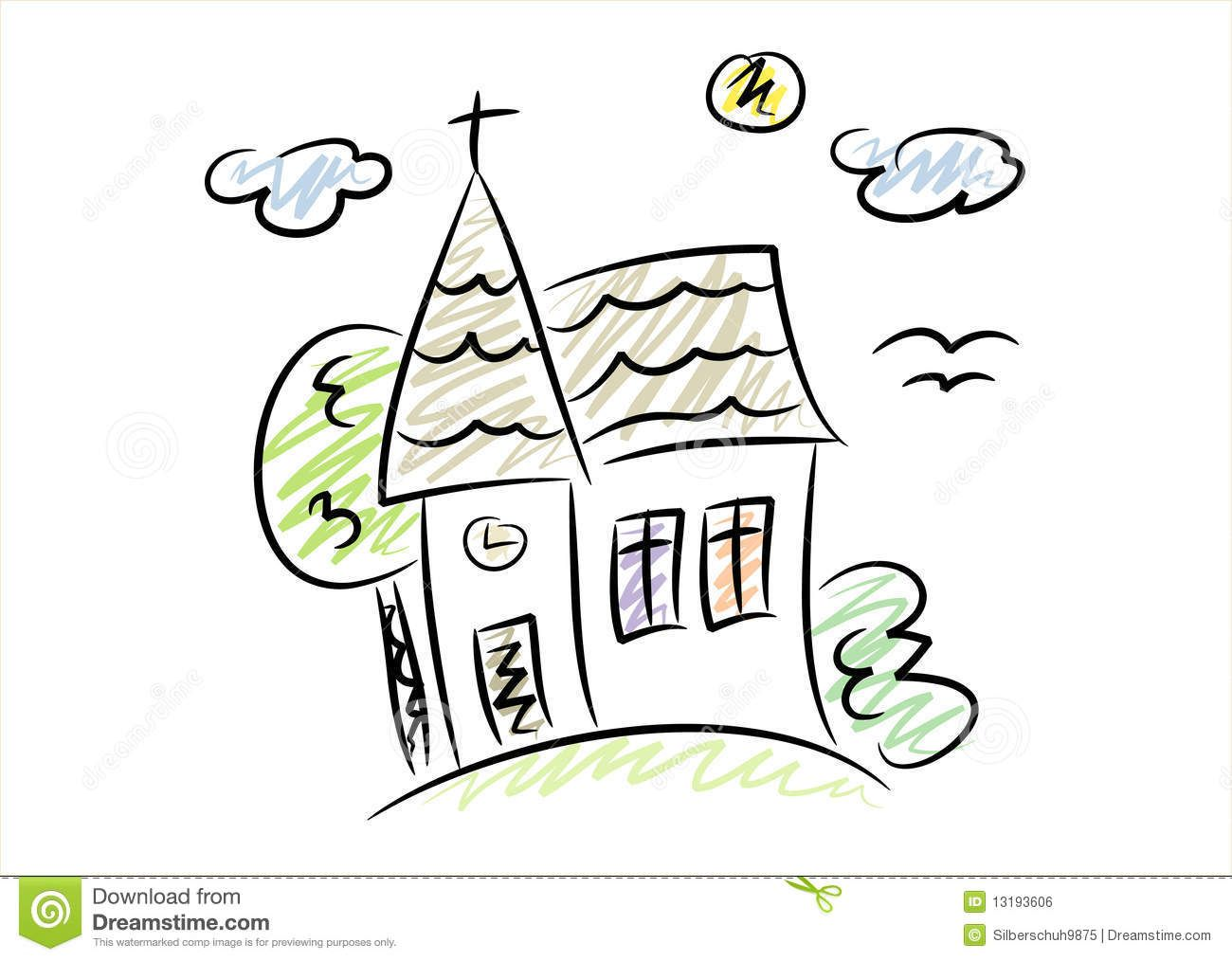 1300x1014 Simple Drawing Of A Little Church Royalty Free Stock Image