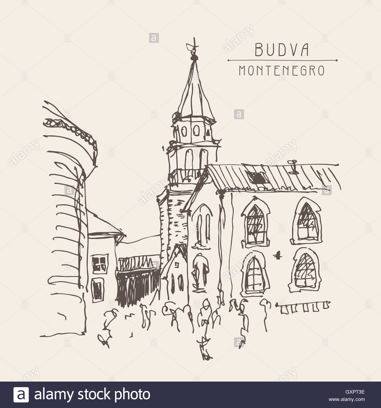 1299x1390 Sketch Drawing Of The Bell Tower Church Top View In Old Town Bud