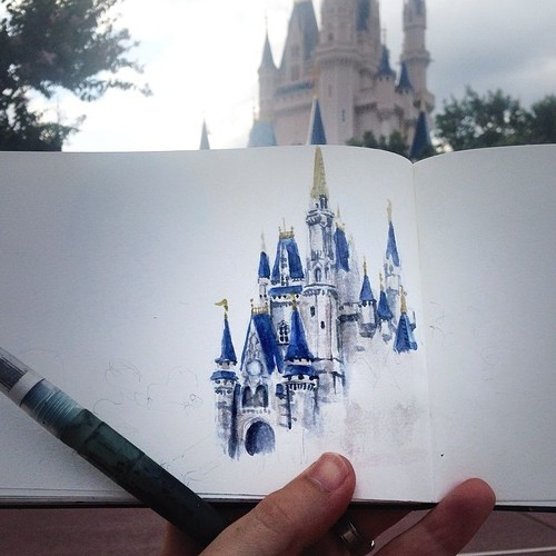 500x500 How Cool Is This Drawing Of Cinderella's Castle