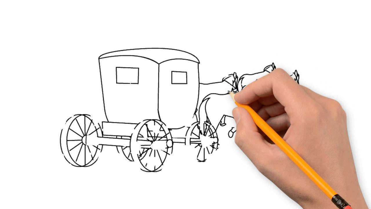 1280x720 Carriage Nature Pencil To Draw Step By Step