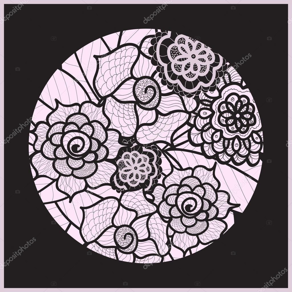 1024x1024 Circle Background. Ornamental Decorative Drawing. Vector Artwork