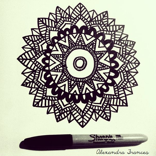 605x604 Cool Designs To Draw With Colored Sharpie