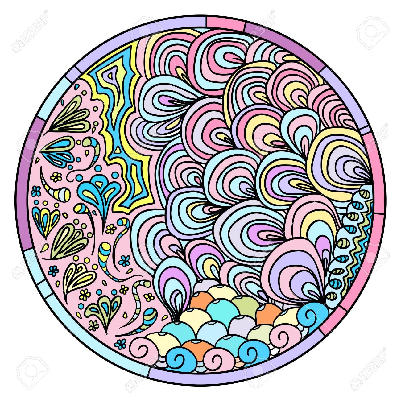 1300x1300 Zendala. Zentangle. Hand Drawn Circle Mandala With Abstract