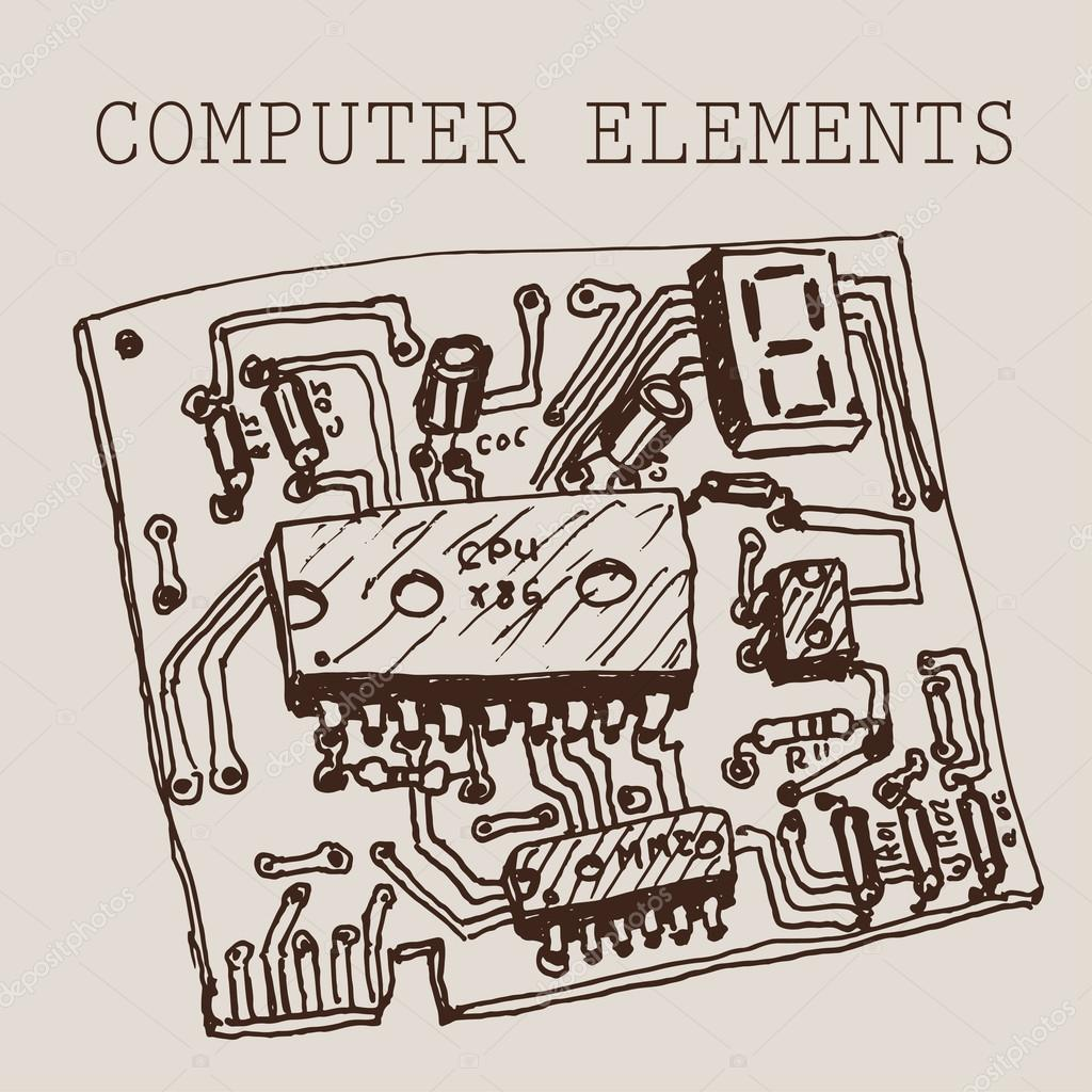 Circuit Board Drawing At Free For Personal Use Vector Illustration Royalty Stock Image 1024x1024 Hand Draw Computer On Paper Eps10