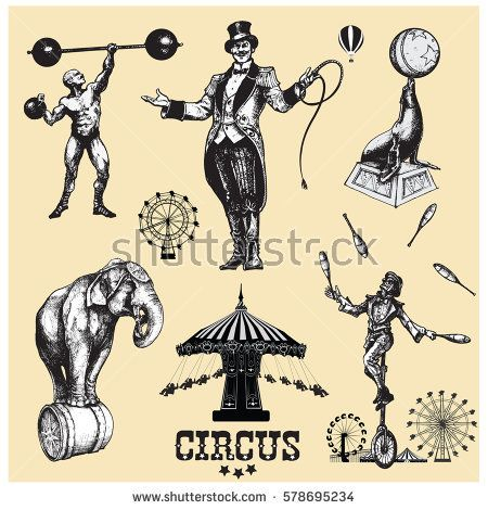 450x470 Circus And Amusement Vector Illustrations Set Vintage Style