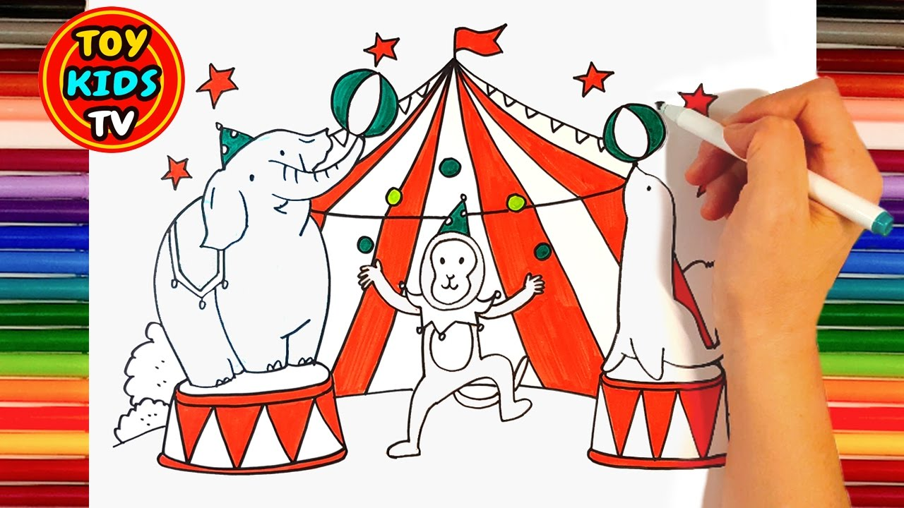1280x720 Cute And Funny Drawing For Circus Animals Painting For Kids