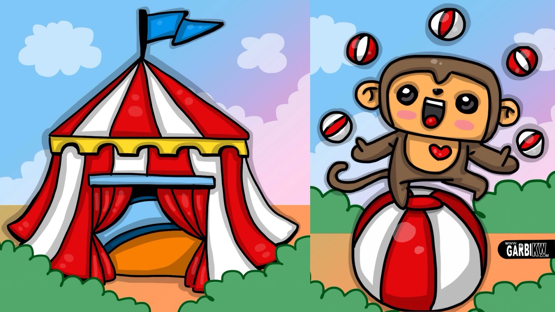 1920x1080 How To Draw Circus And Cute Monkey