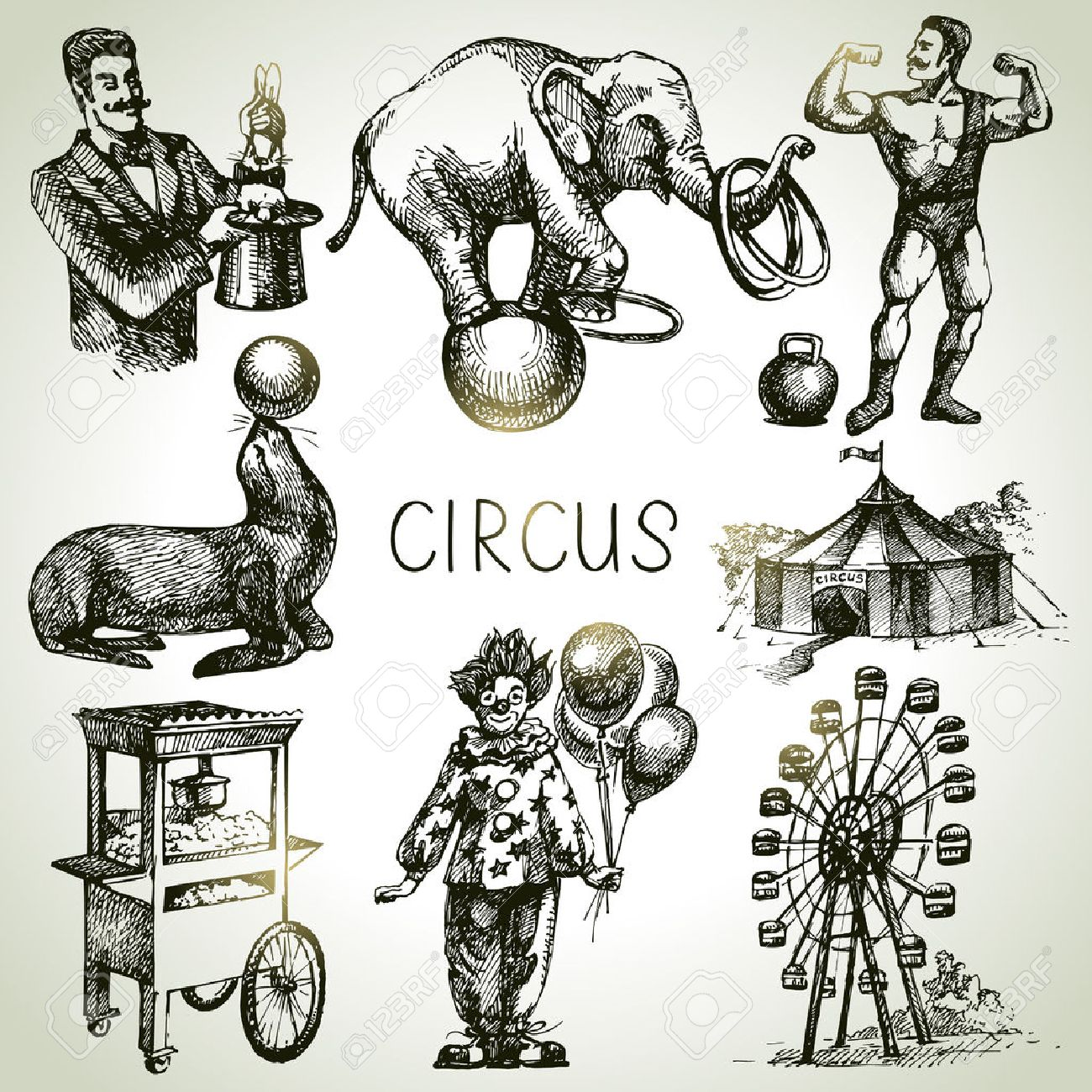 1300x1300 Hand Drawn Sketch Circus And Amusement Vector Illustrations