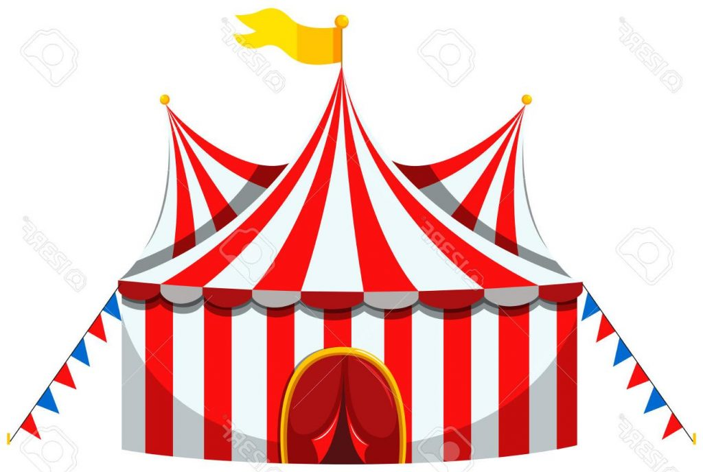 1024x688 Best Circus Tent In Red And White Striped Illustration Stock