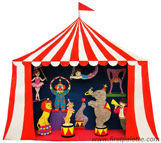 530x470 Circus Diorama And Circus Puppet Theater Craft Kids' Crafts