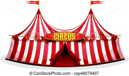 450x266 Illustration Of A Cartoon Big Top Circus Tent, With Red