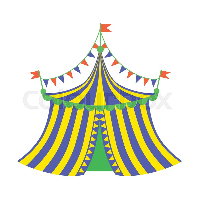 800x800 Yellow And Blue Circus Tent, Part Of Amusement Park And Fair