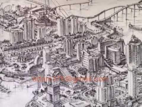 480x360 Drawing Fantasy City