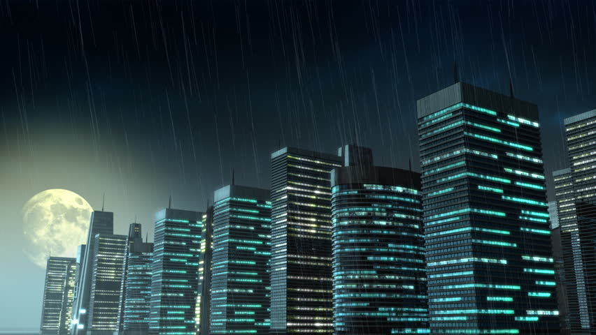 852x480 Architecture Drawing Of A City At Night (Full Hd) Stock Footage