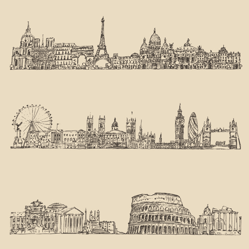 500x500 Hand Drawing City Retro Background Vector 01