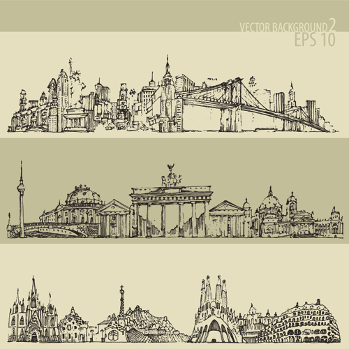 500x500 Hand Drawing City Retro Background Vector 02