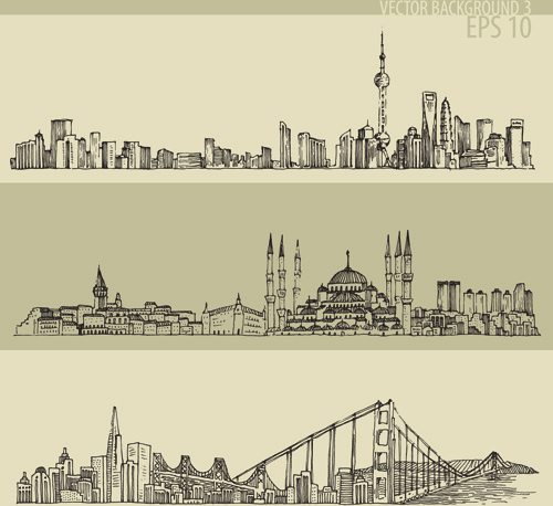 500x458 Hand Drawing City Retro Background Vector Free Vector