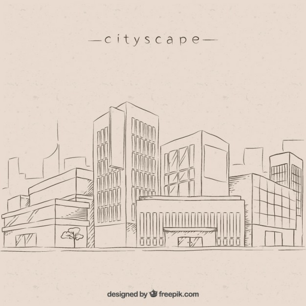 626x626 Sketches Modern City Background Vector Free Download