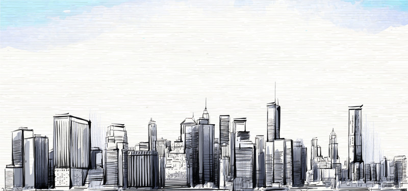 800x375 Sketch Drawing Of City Building, Hand, Sketch, Line Drawing