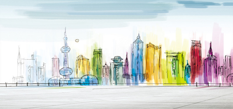 800x375 Watercolor Poster City Background, Watercolor Background, Drawing