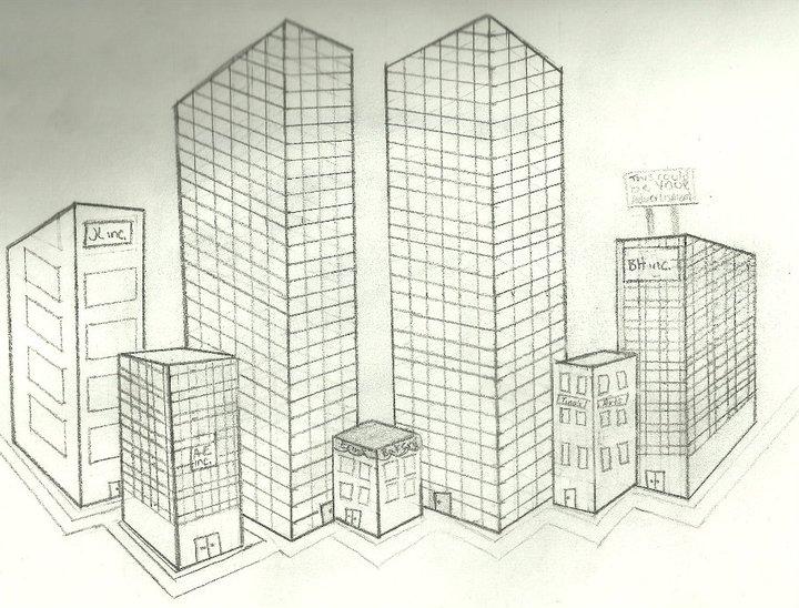 City Building Drawing At Getdrawings