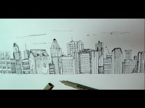 480x360 How To Draw A Panoramic City Skyline Or Cityscape With Buildings