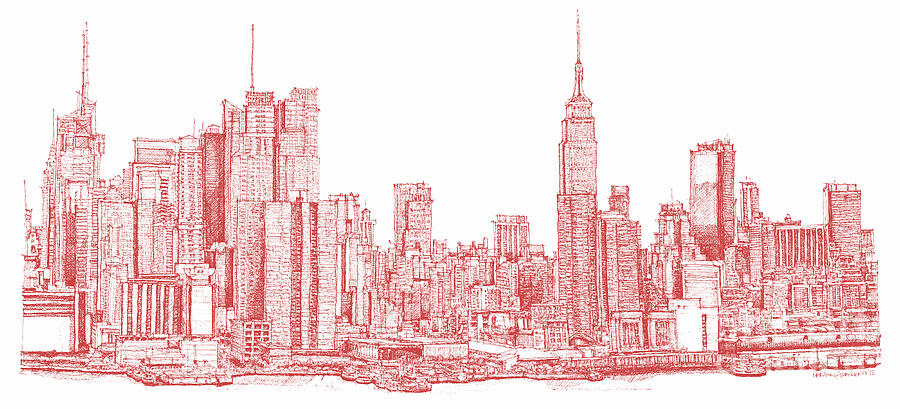 900x409 New York City Red Ink Drawing By Building Art