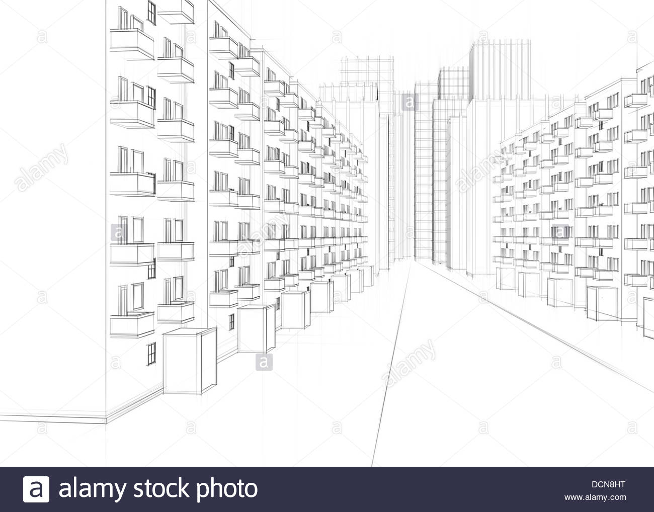 1300x1018 Drawing Of A City Street With Apartment Buildings And Skyscrapers