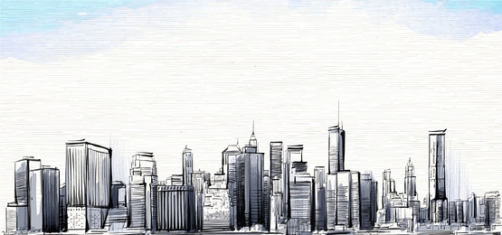 555x260 Sketch Drawing Of City Building, Hand, Sketch, Line Drawing