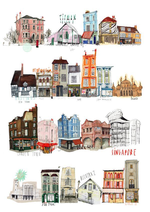 600x848 Buildings Illustration, Urban Illustration, Drawing City Buildings
