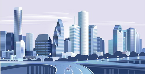 500x257 Drawing City Buildings And Scenery Vector Free Vector