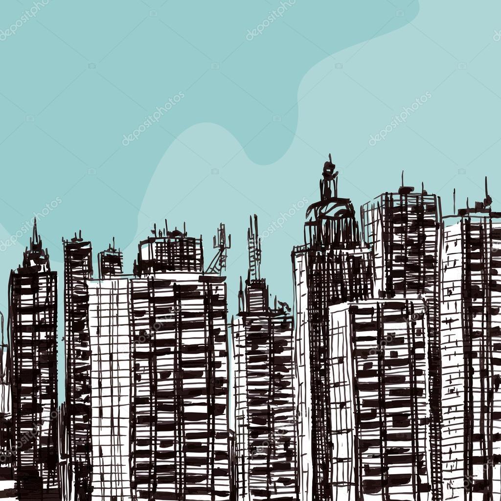 1024x1024 Drawing Marker City Buildings Stock Vector Bakalavar