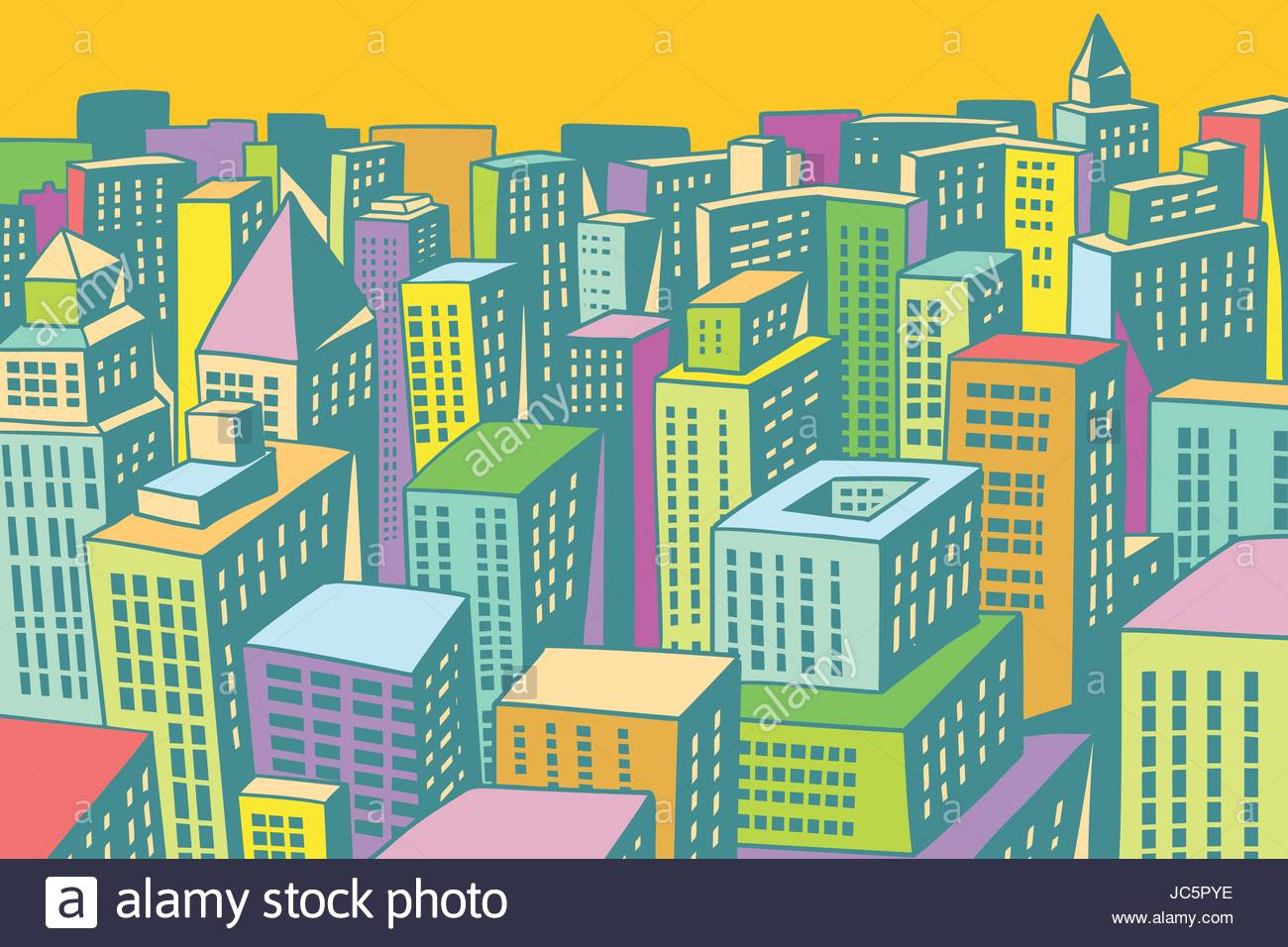 1300x956 Colorful Buildings Of The Modern City Background. Comic Book