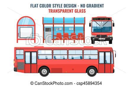 450x290 Cool Modern Flat Design Public Transport. Bus Stop Structure