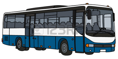 450x225 Hand Drawing Of A Green And White City Bus Royalty Free Cliparts