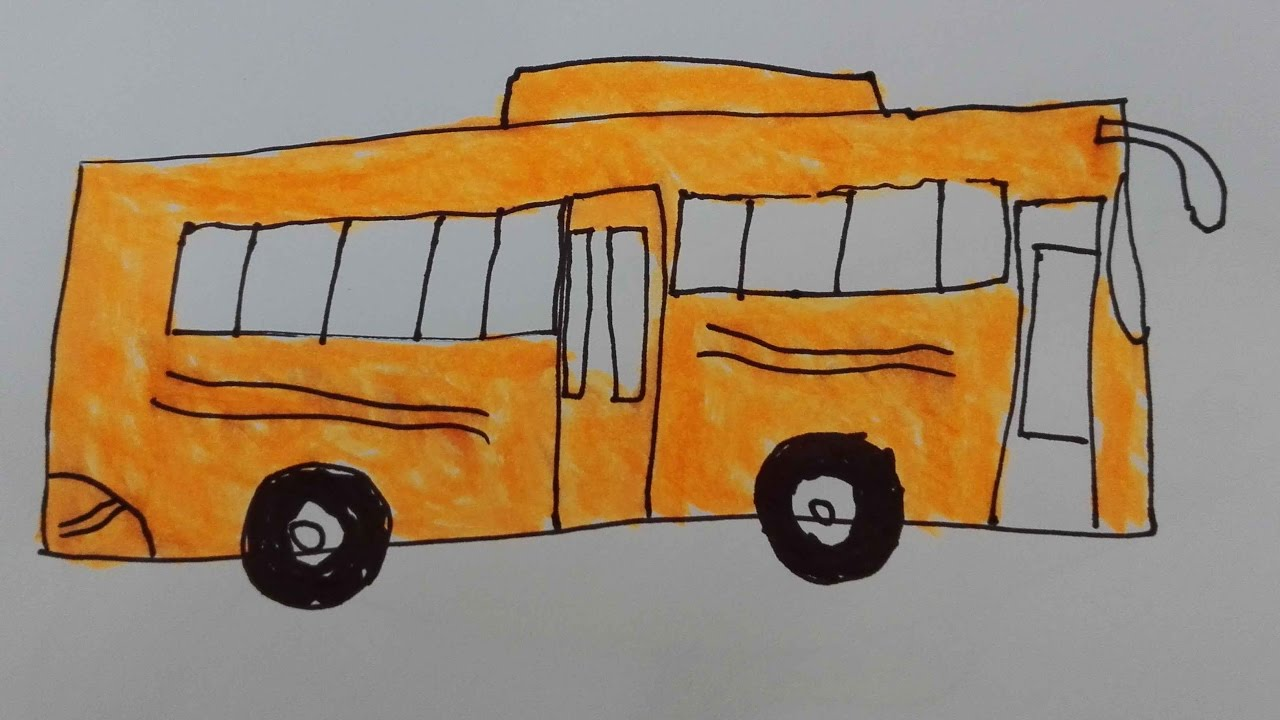 1280x720 How To Draw Bus Draw A Bus Stop Step By Step Draw A City Bus