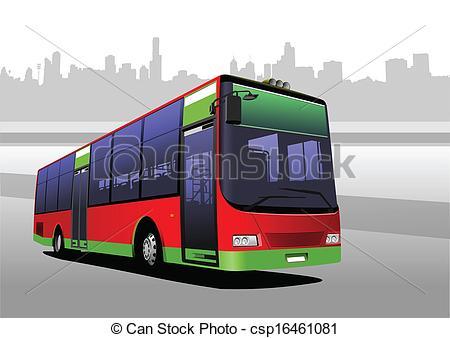 450x338 Red Green City Bus. Coach. Vector Illustration Vector