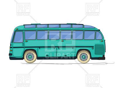 400x300 Vintage Style City Bus, Cartoon Drawing Royalty Free Vector Clip