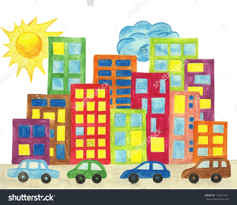 1500x1300 Cartoon City Drawing Cartoon City Drawing City Town Cityscape