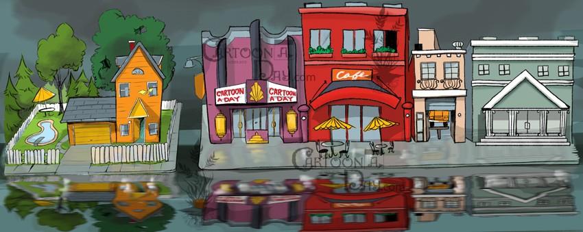 850x339 Cartoon City Street Header Cartoon